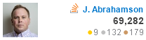 profile for J. Abrahamson at Stack Overflow, Q&A for professional and enthusiast programmers