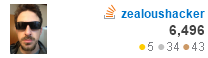 profile for zealoushacker at Stack Overflow, Q&A for professional and enthusiast programmers